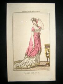 Lady's Magazine 1801 H/Col Regency Fashion Print. Paris Dress 04